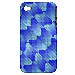 Gradient Blue Pinstripes Lines Apple Iphone 4/4s Hardshell Case (pc+silicone)