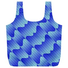 Gradient Blue Pinstripes Lines Full Print Recycle Bags (l)