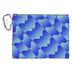 Gradient Blue Pinstripes Lines Canvas Cosmetic Bag (xxl)