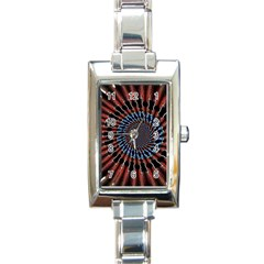 The Fourth Dimension Fractal Noise Rectangle Italian Charm Watch