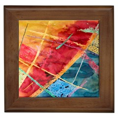 Painting Watercolor Wax Stains Red Framed Tiles