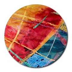 Painting Watercolor Wax Stains Red Round Mousepads