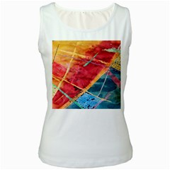 Painting Watercolor Wax Stains Red Women s White Tank Top