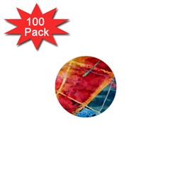 Painting Watercolor Wax Stains Red 1  Mini Buttons (100 Pack)