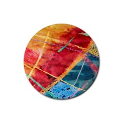 Painting Watercolor Wax Stains Red Rubber Round Coaster (4 Pack)