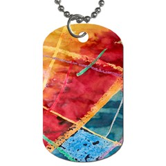 Painting Watercolor Wax Stains Red Dog Tag (two Sides)