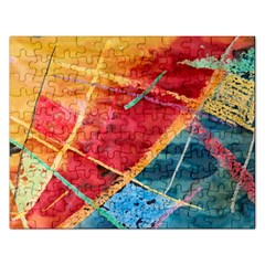 Painting Watercolor Wax Stains Red Rectangular Jigsaw Puzzl