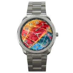 Painting Watercolor Wax Stains Red Sport Metal Watch