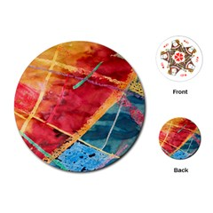 Painting Watercolor Wax Stains Red Playing Cards (round)