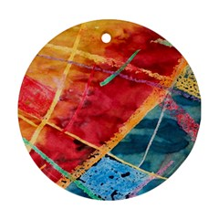 Painting Watercolor Wax Stains Red Round Ornament (two Sides)