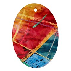 Painting Watercolor Wax Stains Red Oval Ornament (two Sides)