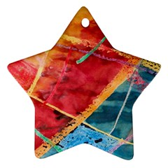 Painting Watercolor Wax Stains Red Star Ornament (two Sides)