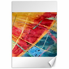 Painting Watercolor Wax Stains Red Canvas 20  X 30
