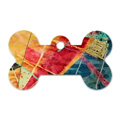 Painting Watercolor Wax Stains Red Dog Tag Bone (one Side)