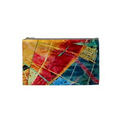 Painting Watercolor Wax Stains Red Cosmetic Bag (small)