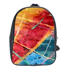 Painting Watercolor Wax Stains Red School Bag (large)