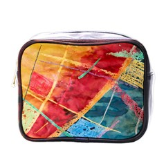 Painting Watercolor Wax Stains Red Mini Toiletries Bags