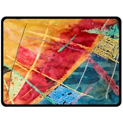 Painting Watercolor Wax Stains Red Fleece Blanket (large)