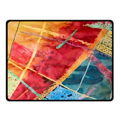 Painting Watercolor Wax Stains Red Fleece Blanket (small)