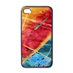 Painting Watercolor Wax Stains Red Apple Iphone 4 Case (black)