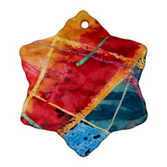 Painting Watercolor Wax Stains Red Ornament (snowflake)