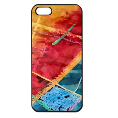 Painting Watercolor Wax Stains Red Apple Iphone 5 Seamless Case (black)