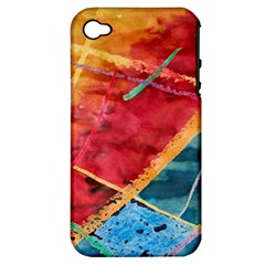 Painting Watercolor Wax Stains Red Apple Iphone 4/4s Hardshell Case (pc+silicone)