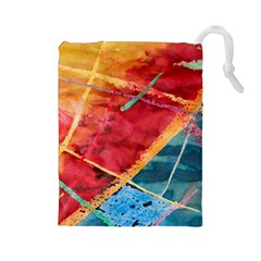Painting Watercolor Wax Stains Red Drawstring Pouches (large)