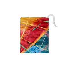 Painting Watercolor Wax Stains Red Drawstring Pouches (xs)