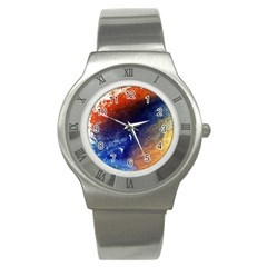 Colorful Pattern Color Course Stainless Steel Watch
