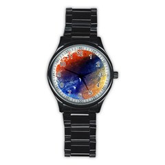 Colorful Pattern Color Course Stainless Steel Round Watch