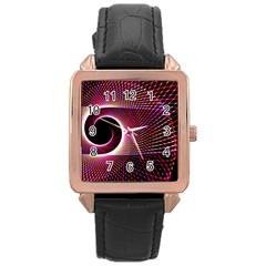 Grid Bent Vibration Ease Bend Rose Gold Leather Watch