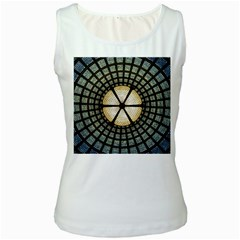 Stained Glass Colorful Glass Women s White Tank Top