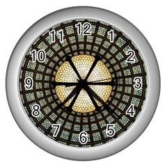 Stained Glass Colorful Glass Wall Clocks (silver)
