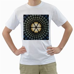 Stained Glass Colorful Glass Men s T Shirt (white) (two Sided)