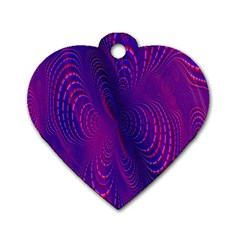 Abstract Fantastic Fractal Gradient Dog Tag Heart (one Side)