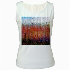 Glass Colorful Abstract Background Women s White Tank Top