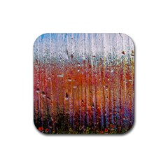 Glass Colorful Abstract Background Rubber Coaster (square)