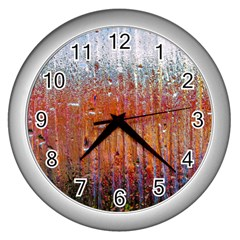 Glass Colorful Abstract Background Wall Clocks (silver)