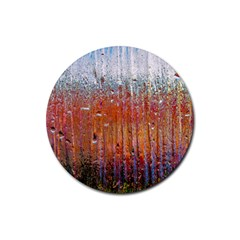 Glass Colorful Abstract Background Rubber Round Coaster (4 Pack)