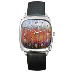Glass Colorful Abstract Background Square Metal Watch