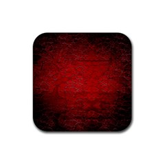 Red Grunge Texture Black Gradient Rubber Coaster (square)