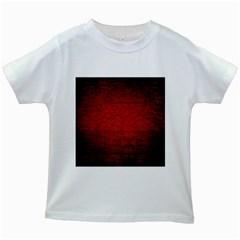 Red Grunge Texture Black Gradient Kids White T Shirts