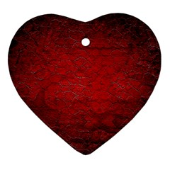 Red Grunge Texture Black Gradient Heart Ornament (two Sides)