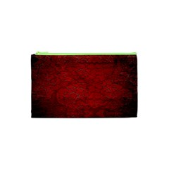 Red Grunge Texture Black Gradient Cosmetic Bag (xs)