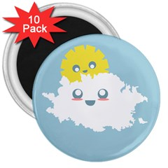 Cloud Cloudlet Sun Sky Milota 3  Magnets (10 Pack)