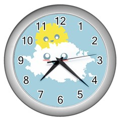 Cloud Cloudlet Sun Sky Milota Wall Clocks (silver)