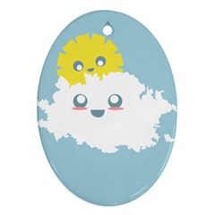 Cloud Cloudlet Sun Sky Milota Oval Ornament (two Sides)