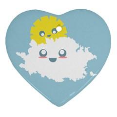 Cloud Cloudlet Sun Sky Milota Heart Ornament (two Sides)