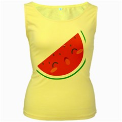 Watermelon Red Network Fruit Juicy Women s Yellow Tank Top